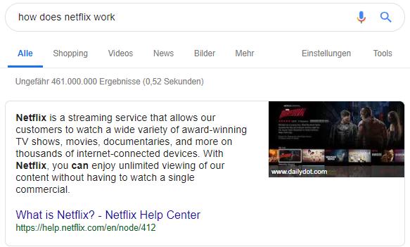 Position Null in den Google Suchergebnissen 1