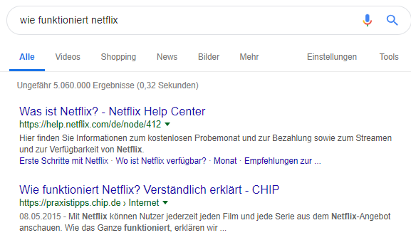Position Null in den Google Suchergebnissen 2