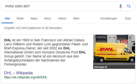 Position Null in den Google Suchergebnissen 3