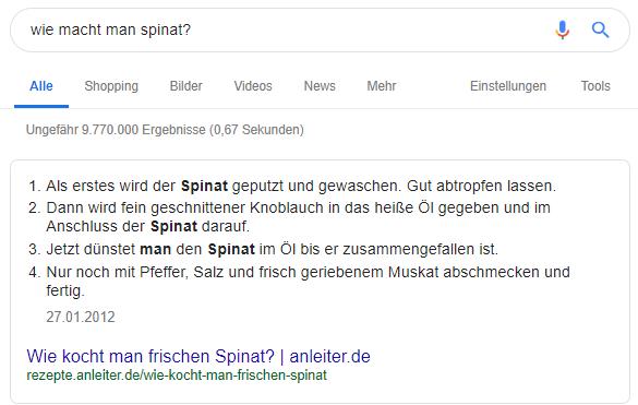 Position Null in den Google Suchergebnissen 4