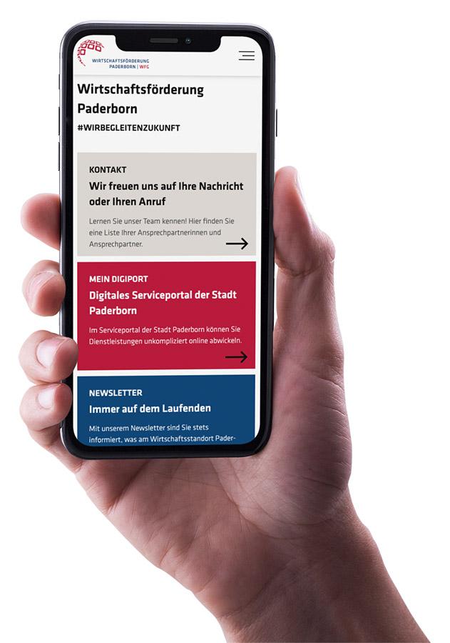 Wirtschaftsförderung Paderborn responsive Website